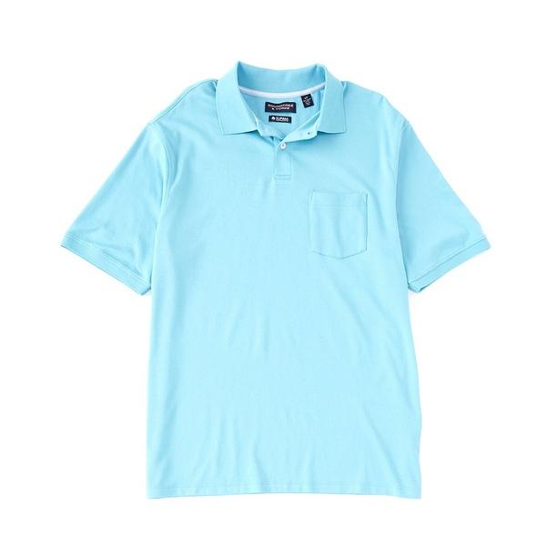 ランドツリーアンドヨーク メンズ シャツ トップス Big & Tall Short-Sleeve Supima Solid Polo Turquoise
