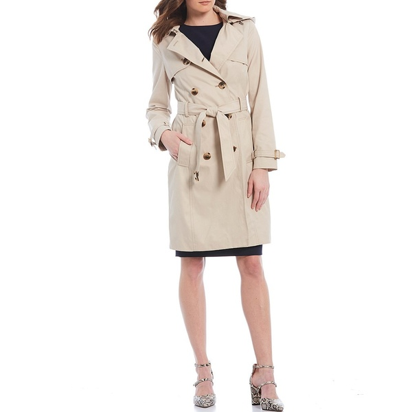 アントニオメラニー レディース コート アウター Olivia Water Resistant Cotton Blend Double Breasted Detachable Hood Trench Coat Khaki