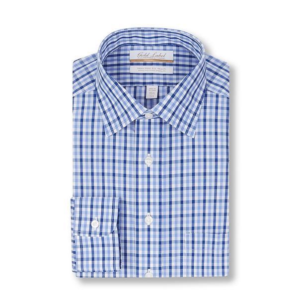 ランドツリーアンドヨーク メンズ シャツ トップス Gold Label Roundtree & Yorke Non-Iron Full Fit Spread-Collar Multi-Colored Blue Checked Dress Shirt Blue Multi