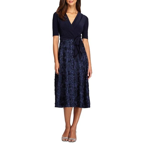 アレックスイブニングス レディース ワンピース トップス Petite Size Rosette Skirt A-Line Dress Navy