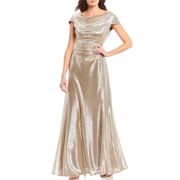 タハリエーエスエル レディース ワンピース トップス Long Cap-Sleeve Metallic Knit Gown Silver Powder