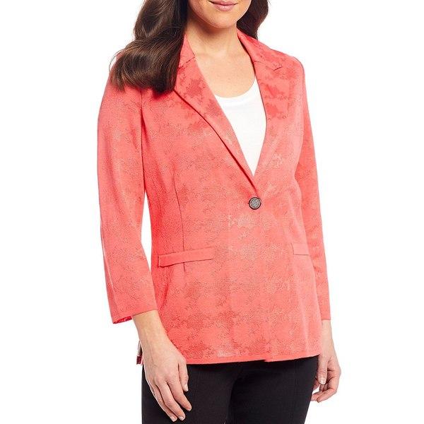ミソーク レディース ジャケット&ブルゾン アウター 3/4 Sleeve Notch Lapel Button Front Abstract Houndstooth Jacket Sugar Coral