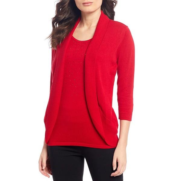 アリソンダーレイ レディース ニット&セーター アウター Petite Size Embellished Cotton-Blend 3/4 Sleeve Fooler Cardigan Red
