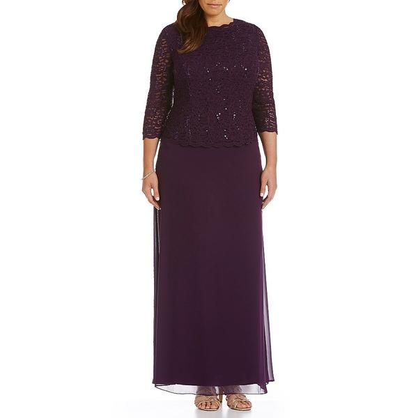 アレックスイブニングス レディース ワンピース トップス Plus Lace Bodice Mock 2-Fer Dress Deep Plum
