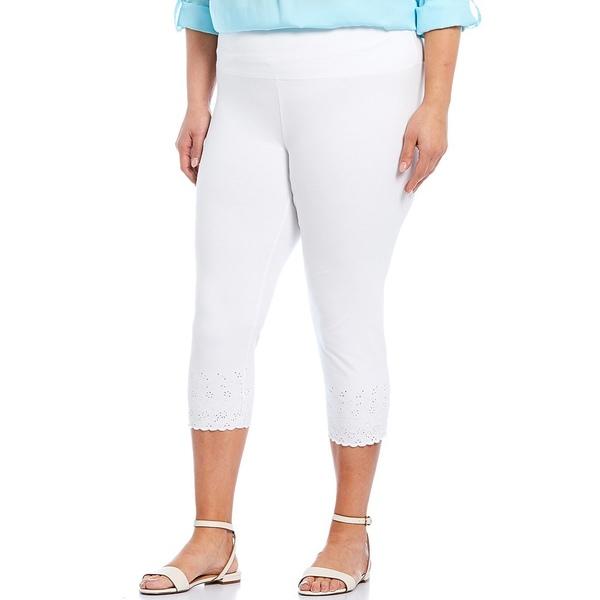 イントロ レディース レギンス ボトムス Plus Size #double;Teri#double; Love the Fit Embroidered Hem Capri Leggings Bright White