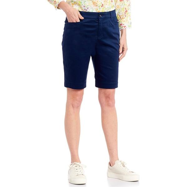 イントロ レディース カジュアルパンツ ボトムス Petite Size Becky Stretch Sateen Bermuda Shorts Ink