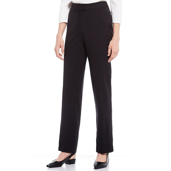 インベストメンツ レディース カジュアルパンツ ボトムス Petite Size the 5TH AVE fit Straight Leg Non-Wrinkle Two Way Stretch Pant Black/White Pin Dot