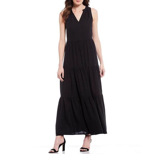 トッミーバハマ レディース ワンピース トップス Lena Tiered Sleeveless Linen Blend Maxi Dress Black
