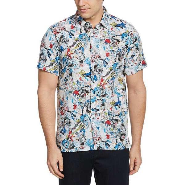 ペリーエリス メンズ シャツ トップス Paint Brush Strokes Print Wrinkle-Resistant Short-Sleeve Woven Shirt Dark Blue