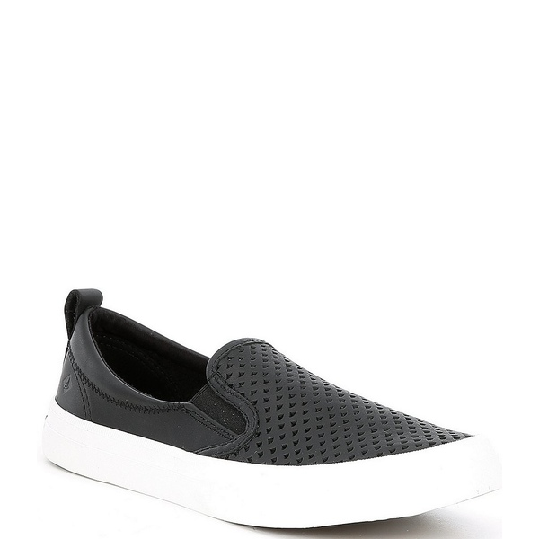 スペリー レディース スニーカー シューズ Crest Twin Gore Leather Scalloped Perforated Slip Ons Black