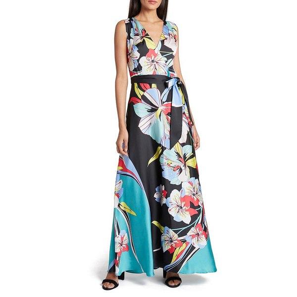 タハリエーエスエル レディース ワンピース トップス Floral Print V-Neck Tie Waist Charmeuse Maxi Dress Black/Azure/Pink