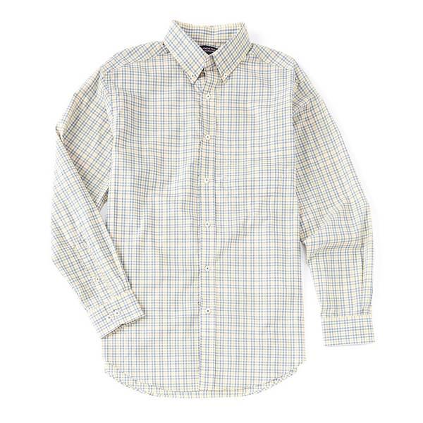 ランドツリーアンドヨーク メンズ シャツ トップス Luxury Cotton Long-Sleeve Plaid Sportshirt Light Yellow
