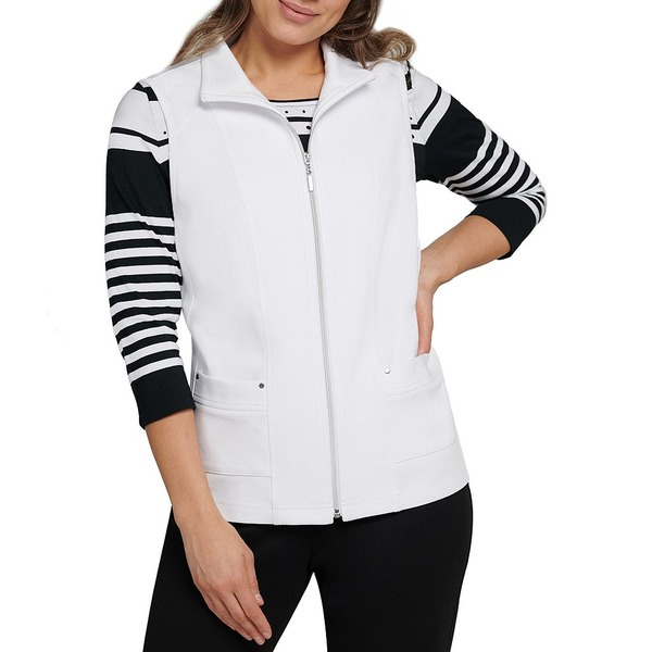 アリソンダーレイ レディース ジャケット&ブルゾン アウター San Remo Knit Zipper Front Cotton Blend Vest White
