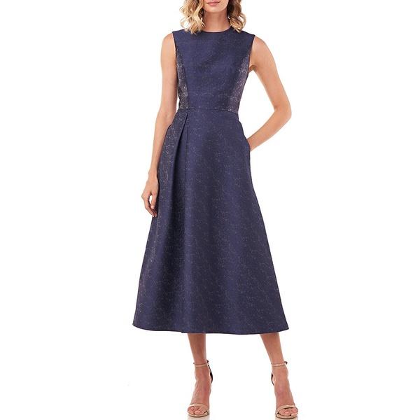 ケイアンガー レディース ワンピース トップス Belinda Textured Jacquard Jewel Neck Midi Dress Midnight