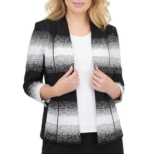 アリソンダーレイ レディース ジャケット&ブルゾン アウター Petite Size Ombre Wave Texture Knit 3/4 Sleeve Open Front Jacket Black Ombre