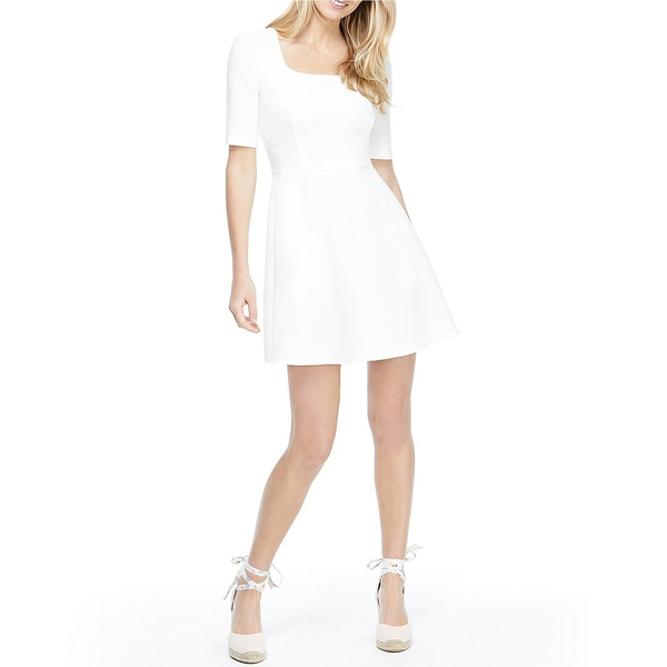 ギャルミーツグラムコレクション レディース ワンピース トップス Kylie Square Neck Box Weave Crepe Mini Fit & Flare Dress Soft White