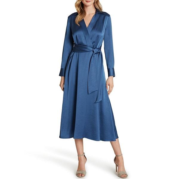 タハリエーエスエル レディース ワンピース トップス Petite Size Crepe Satin Tie Waist Midi Shirt Dress Periwinkle