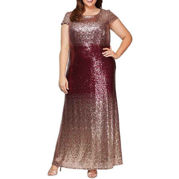 アレックスイブニングス レディース ワンピース トップス Plus Size Ombre Allover Sequin A-Line Cap Sleeve Gown Rose Gold Wine