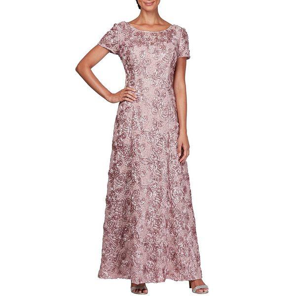 アレックスイブニングス レディース ワンピース トップス Sequined-Lace Rosette-Rose Gown Rose