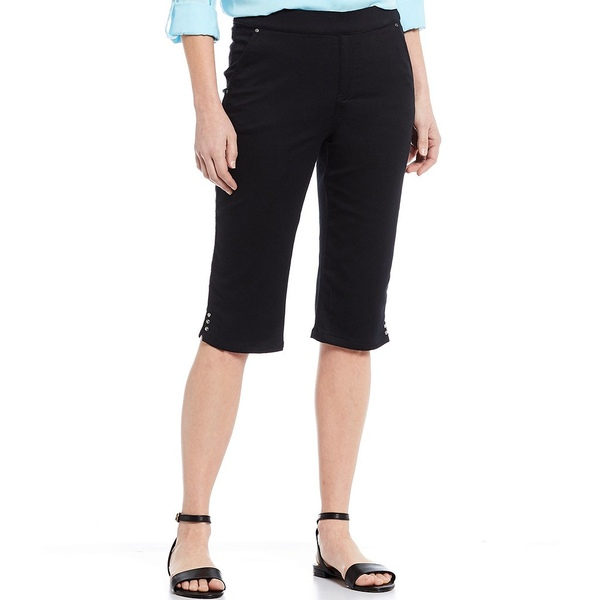 イントロ レディース カジュアルパンツ ボトムス Rose Tummy Panel Cotton Blend Pull-On Skimmer Short Ebony Black