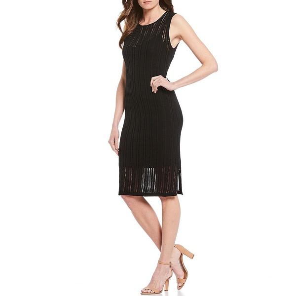 ダナキャラン レディース ワンピース トップス New York Pointelle Black Knit Jersey Cotton Blend Sleeveless Sheath Dress Black