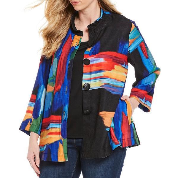 アリ マイルス レディース ジャケット&ブルゾン アウター Plus Size 3/4 Wide Sleeve Abstract Print Pocketed Jacket Multi