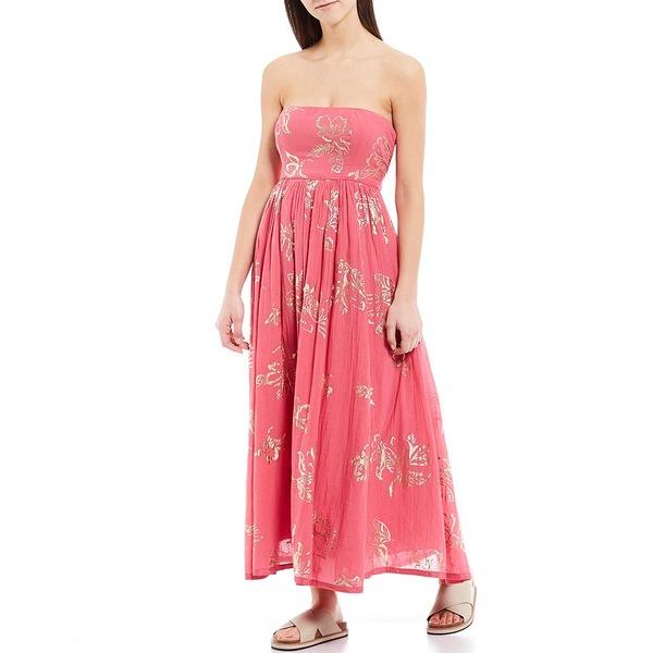 フリーピープル レディース ワンピース トップス Baja Babe Strapless Foiled Print Cotton Midi Dress Hot Pink Combo