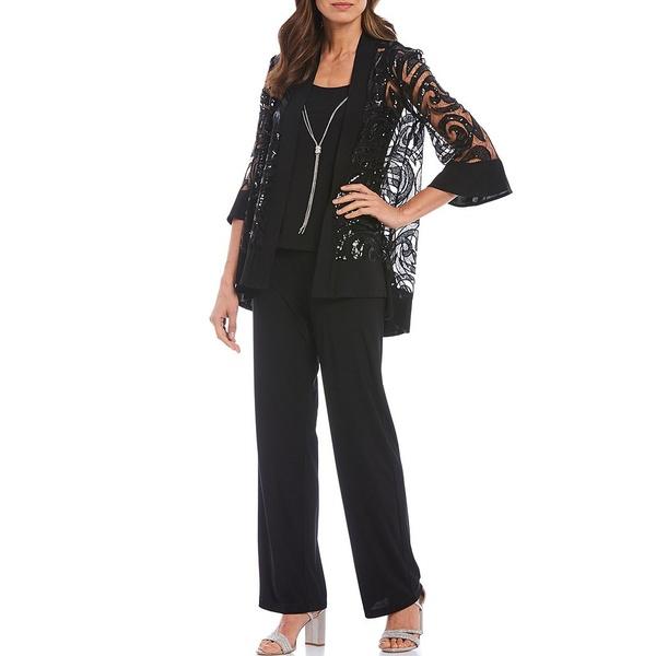 アールアンドエムリチャーズ レディース ワンピース トップス Swirl Sequin Jacket 3-Piece Pant Set Black