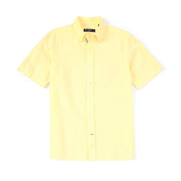 クレミュ メンズ シャツ トップス Solid Short-Sleeve Linen Woven Shirt Yellow