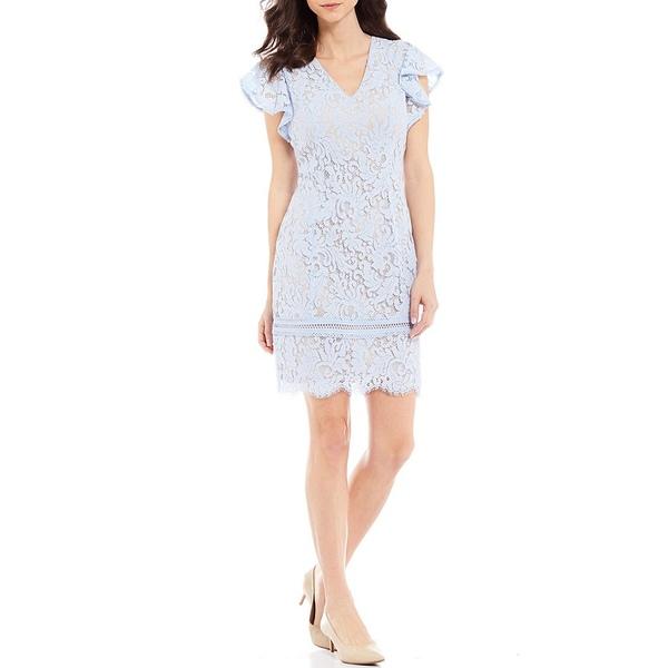ジェシカハワード レディース ワンピース トップス Flutter Sleeve Scallop Hem Lace Sheath Dress Sky