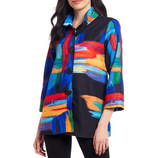 アリ マイルス レディース ジャケット&ブルゾン アウター Petite Size 3/4 Sleeve Abstract Print Button Front Jacket Multi