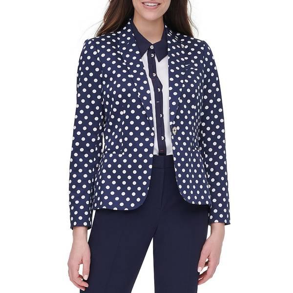 トミー ヒルフィガー レディース ジャケット&ブルゾン アウター Polka Dot Print Stretch Cotton Blend One-Button Jacket Midnight Navy/Ivory