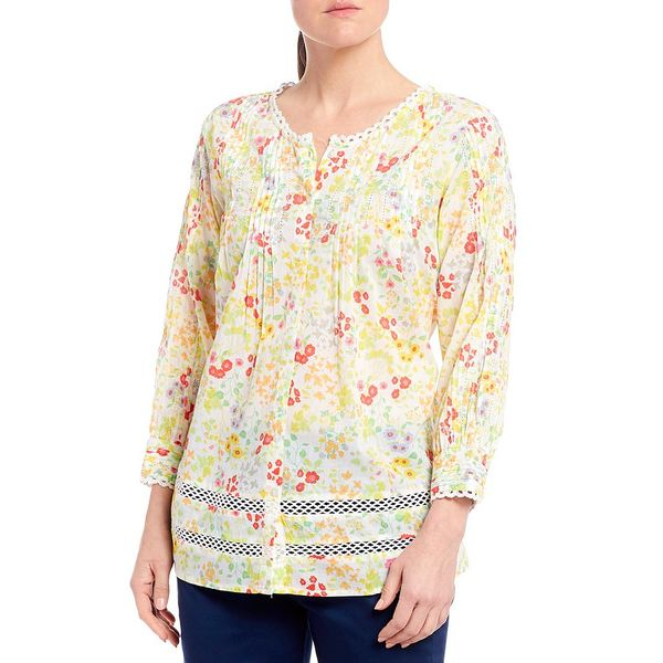 イントロ レディース シャツ トップス Ditsy Floral 3/4 Sleeve Lace Trim Button Front Pintuck Detail Top Bright White/Ditsy Floral