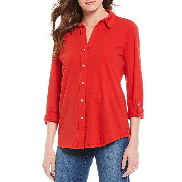 ウェストボンド レディース Tシャツ トップス 3/4 Roll-Tab Sleeve Button Up Cotton Shirt Mars Red