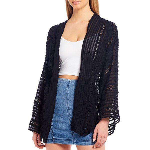 フリーピープル レディース ジャケット&ブルゾン アウター Willows Long Sleeve Kimono Jacket Black