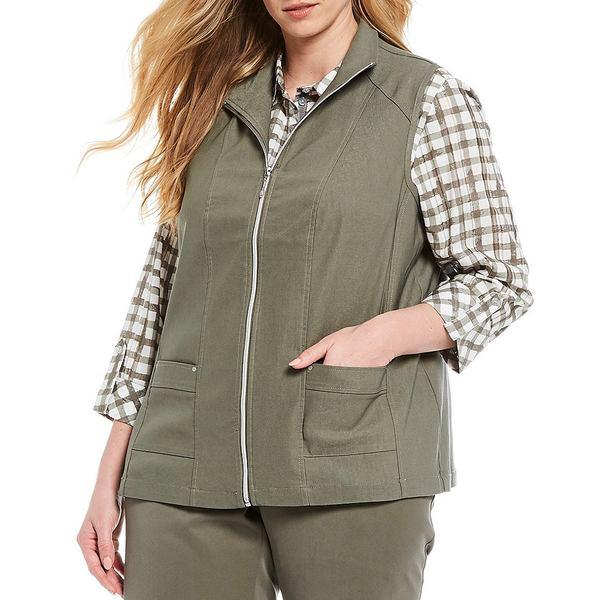 アリソンダーレイ レディース ジャケット&ブルゾン アウター Plus Size Stretch Twill Exposed Zipper Front Cotton Blend Vest Sage