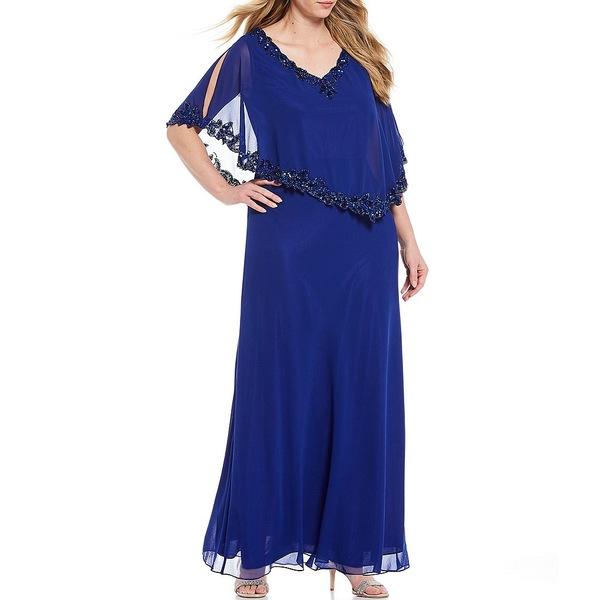 ジェイカラ レディース ワンピース トップス Plus Size Beaded Trim Elbow Sleeve Popover Gown Royal/Shaded