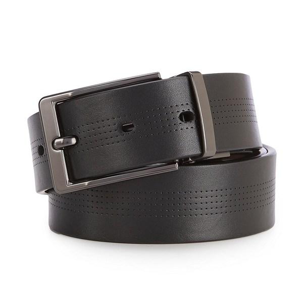 ムラノ メンズ ベルト アクセサリー Dotted Black Reversible Leather Belt Black