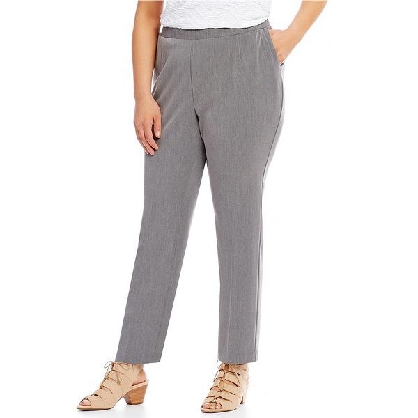 アリソンダーレイ レディース カジュアルパンツ ボトムス Plus Straight-Leg Pull-On Pants Medium Grey