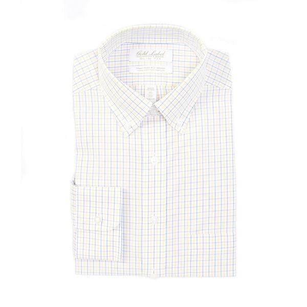 ランドツリーアンドヨーク メンズ シャツ トップス Gold Label Roundtree & Yorke Non-Iron Slim Fit Button-Down Collar Checked Dress Shirt Yellow multi