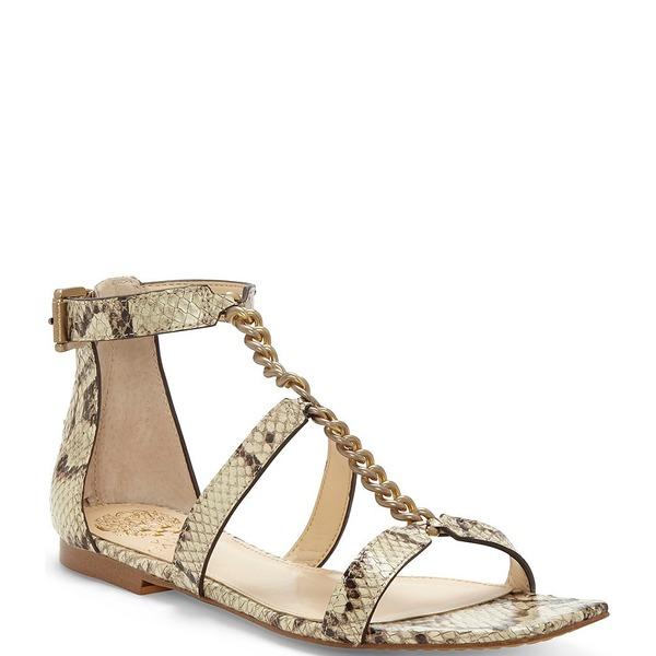 ヴィンスカムート レディース サンダル シューズ Sereney Square Toe Snake Print Leather Chain Flat Sandals Oatmeal Multi Snake