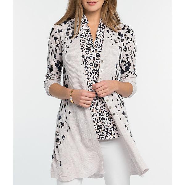 ニックアンドゾー レディース ニット&セーター アウター Cheetah Print Linen Blend Cardigan Pink Multi