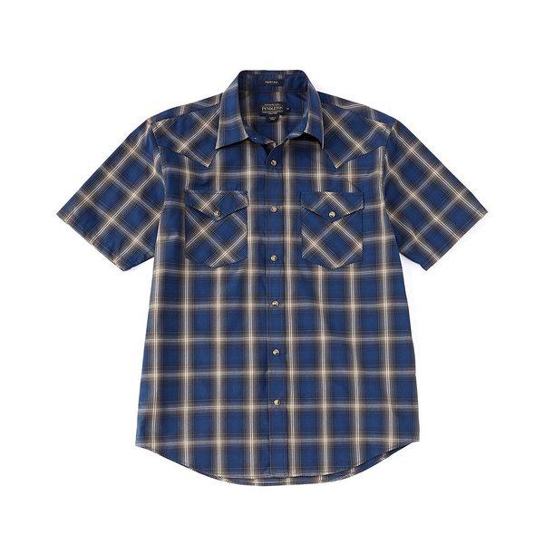 ペンドルトン メンズ シャツ トップス Frontier Short-Sleeve Woven Shirt Navy/Blue/Brown Plaid