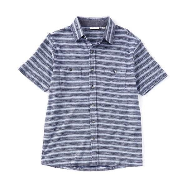 ロウン メンズ シャツ トップス Short-Sleeve Coat Front Knit Shirt Navy