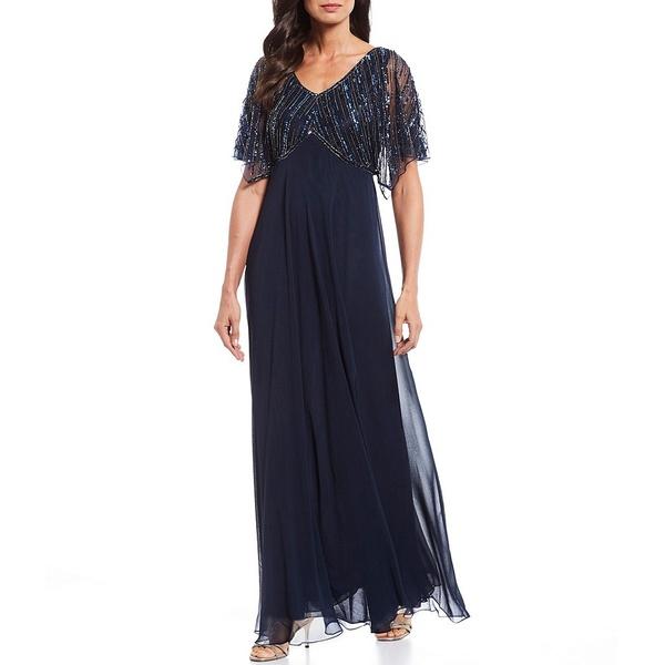 ジェイカラ レディース ワンピース トップス Petite Size Beaded Flutter Sleeve Gown Navy/Multi