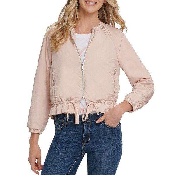 ダナ キャラン ニューヨーク レディース ジャケット&ブルゾン アウター Jeans Zip Front 3/4 Sleeve Drawstring Hem Crop Jacket Iconic Blush