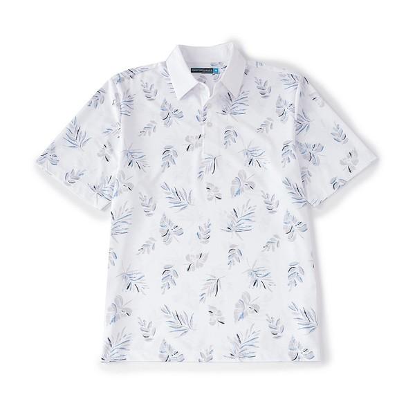 ランドツリーアンドヨーク メンズ ポロシャツ トップス Performance Short-Sleeve Tropical Printed Polo Bright White
