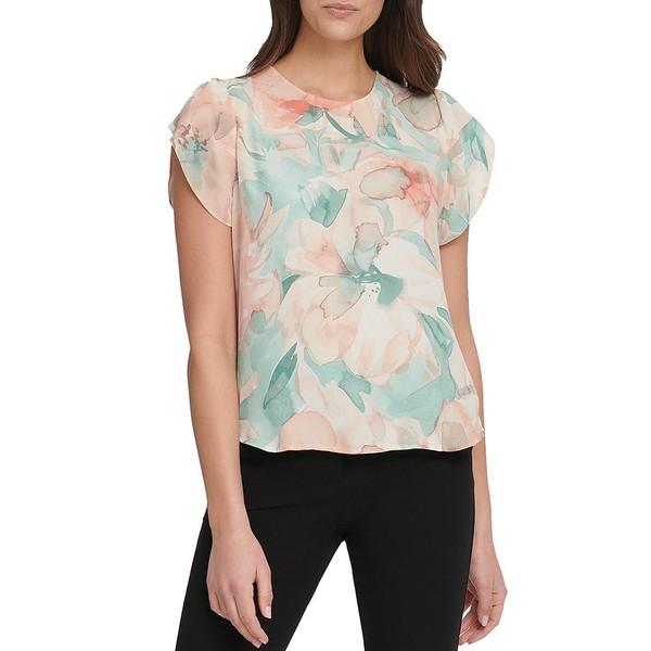 ダナ キャラン ニューヨーク レディース シャツ トップス Georgette Floral Print Short Tulip Sleeve Blouse Coral Multi