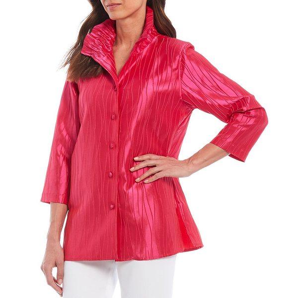 キャロラインローズ レディース ワンピース トップス Celebration Jacquard Ruched Collar 3/4 Sleeve Button Front Shirt Bright Pink