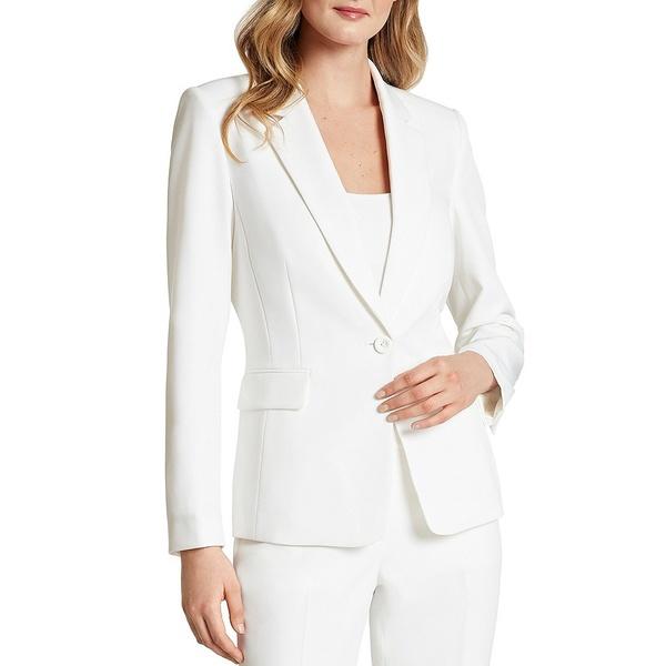 タハリエーエスエル レディース ジャケット&ブルゾン アウター Long Sleeve Twill One-Button Jacket Ivory